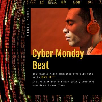 Cyber Monday Sale with Man in Headphones