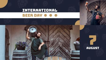Traditional Beer Day Announcement with Brewer FB event cover Modelo de Design