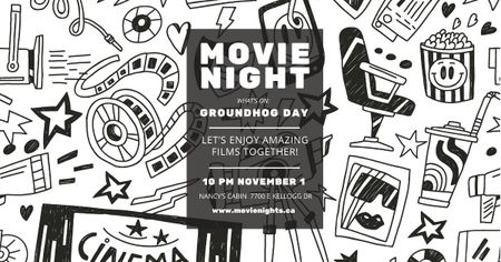Movie night event Annoucement Facebook AD Modelo de Design