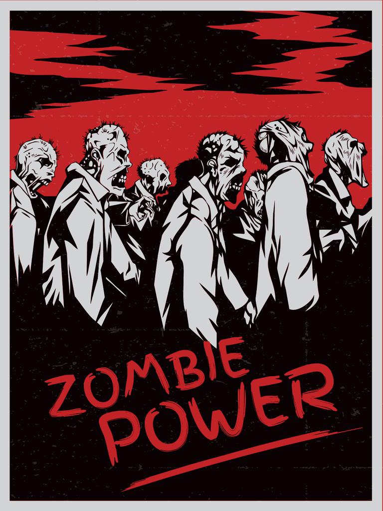 Zombie scary drawing in red — Modelo de projeto