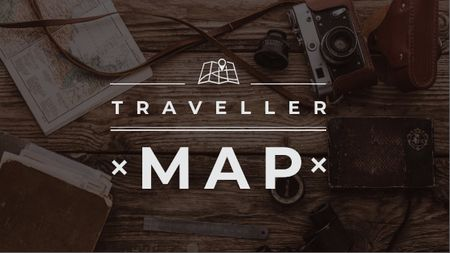 Travelling Inspiration Map with Vintage Camera Title – шаблон для дизайну