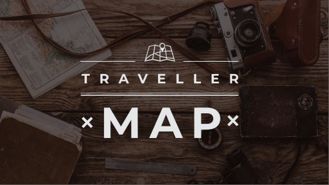 Modèle de visuel Travelling Inspiration Map with Vintage Camera - Title