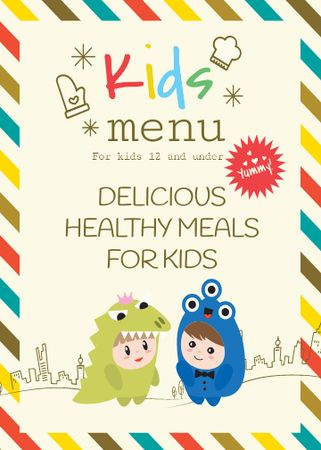Kids menu offer with Children in costumes Flayer Modelo de Design