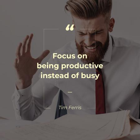 Ontwerpsjabloon van Instagram van Angry Businessman with Productivity Quote