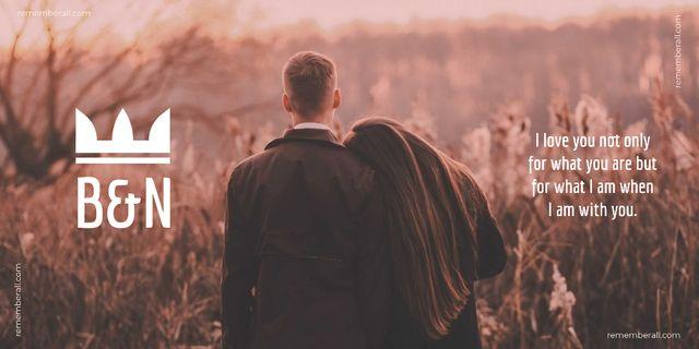 Ontwerpsjabloon van Twitter van Couple in autumn field