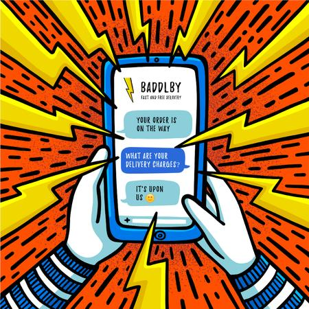 Ontwerpsjabloon van Instagram van Online Ordering with Phone in Hands