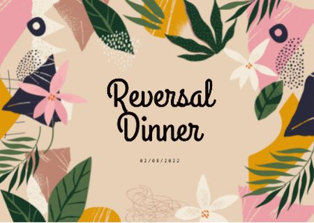Template di design Reversal Dinner Announcement in Floral Frame Card