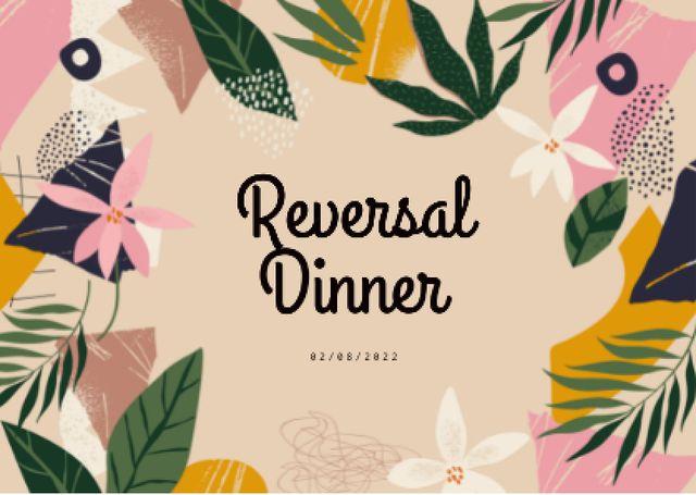 Plantilla de diseño de Reversal Dinner Announcement in Floral Frame Card