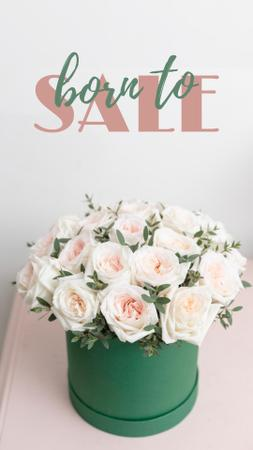 Plantilla de diseño de Bright White Roses Bouquet Sale Offer Instagram Story