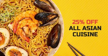 Modèle de visuel Asian Cuisine Dish with Noodles - Facebook AD