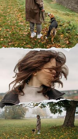 Designvorlage Girl with her Dog in Autumn Park für Instagram Story