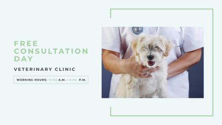 Plantilla de diseño de Pet veterinary clinic Ad with Cute Dog FB event cover