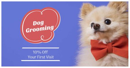 Template di design Dog Grooming Offer with Cute Puppy Facebook AD