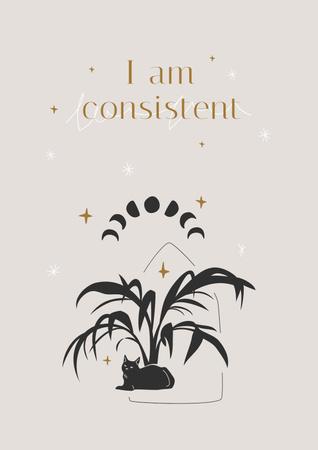 Mental Health Inspiration with Plant and Cat Poster tervezősablon