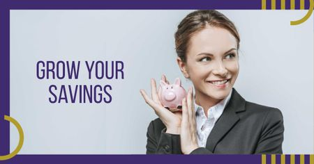 Businesswoman holding Piggy Bank Facebook AD Tasarım Şablonu