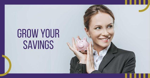 Plantilla de diseño de Businesswoman holding Piggy Bank Facebook AD