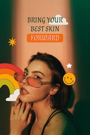 Beauty Ad with Girl in Stylish Sunglasses Pinterest Tasarım Şablonu