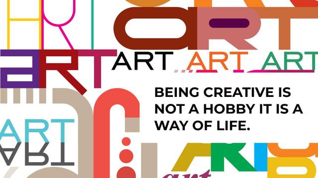 Plantilla de diseño de Creativity Quote on colorful Letters FB event cover