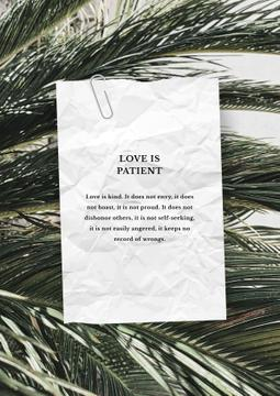 Love Quote on palm Leaves