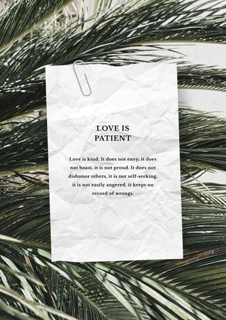Love Quote on palm Leaves Posterデザインテンプレート