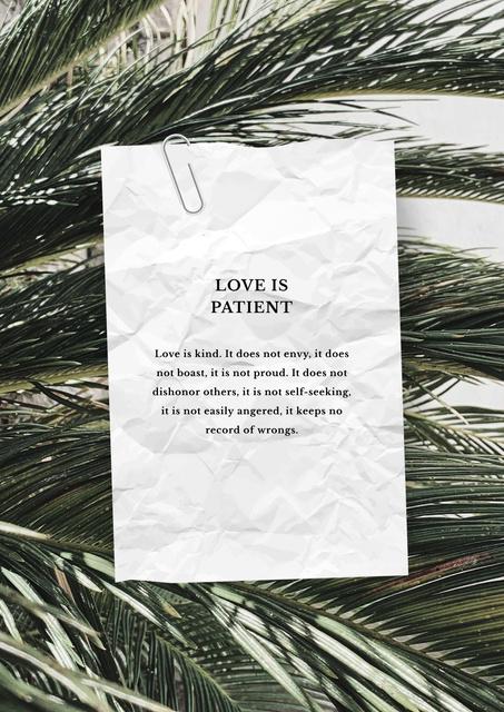 Modèle de visuel Love Quote on palm Leaves - Poster