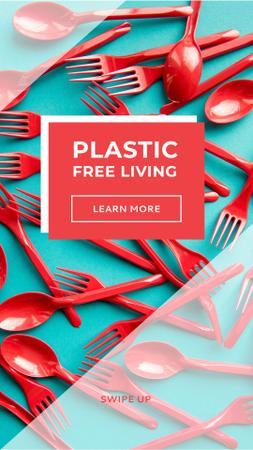 Eco Concept with Red Plastic Tableware Instagram Story Design Template