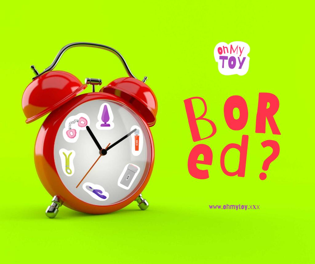 Funny Illustration of Sex Toys on Alarm Clock Facebook – шаблон для дизайна