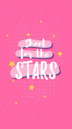 Inspirational Quote with Stars on Pink Instagram Story Modelo de Design