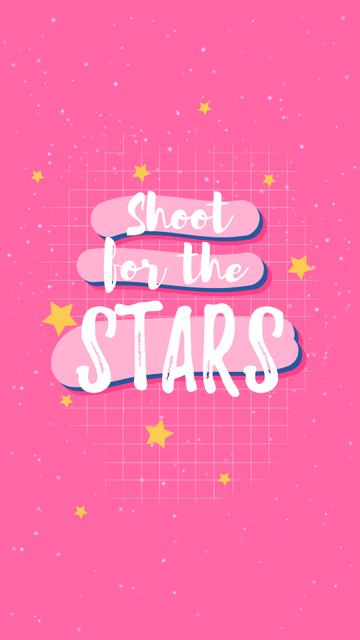 Modèle de visuel Inspirational Quote with Stars on Pink - Instagram Story