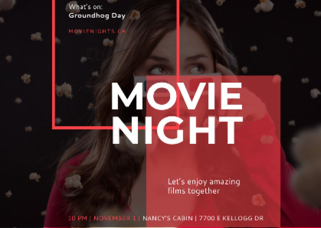 Movie Night Event Woman in 3d Glasses —デザインを作成する