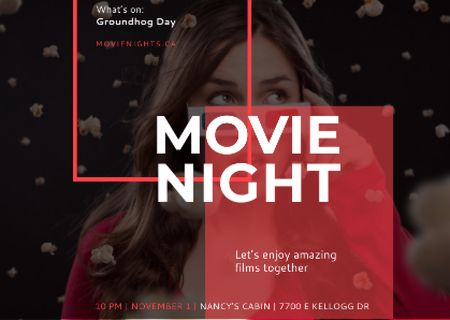 Plantilla de diseño de Movie Night Event Woman in 3d Glasses Postcard