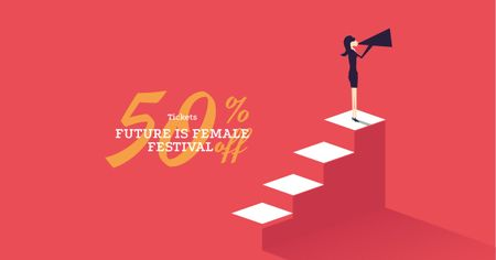 Female Festival Announcement with Woman holding Megaphone Facebook AD Modelo de Design