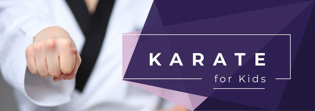 Plantilla de diseño de Karate Club Invitation Kid Hitting with Fist Tumblr