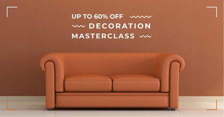 Modèle de visuel Interior decoration masterclass with Sofa in red - Facebook AD