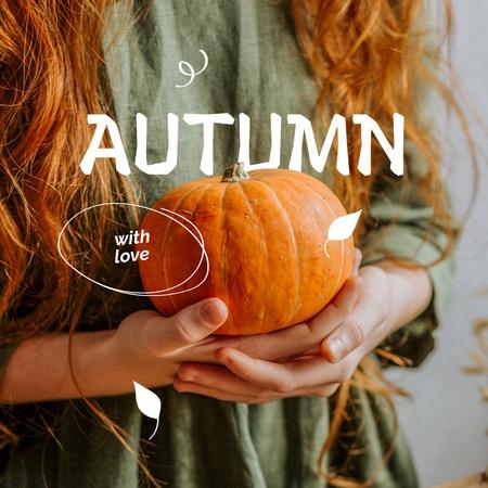 Autumn Inspiration with Girl holding Pumpkin Instagram – шаблон для дизайну