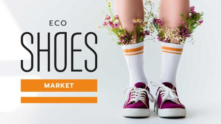 Eco Shoes Store Offer with Flowers in Gumshoes FB event cover – шаблон для дизайна