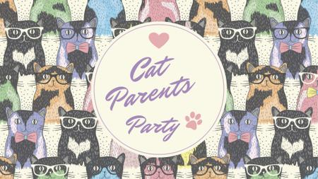 Cat Parents Party with funny animals FB event cover – шаблон для дизайну