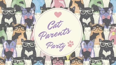 Cat Parents Party with funny animals FB event cover Tasarım Şablonu
