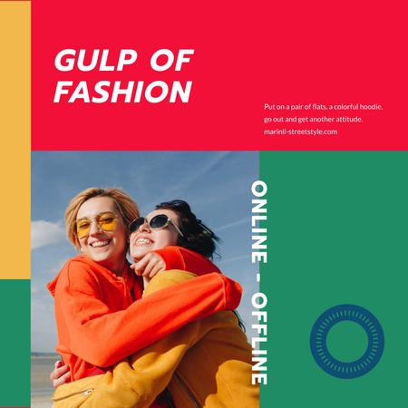 Fashion Collection ad with Happy Women hugging Instagramデザインテンプレート