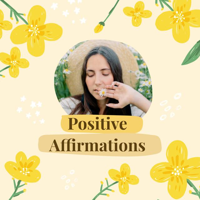 Mental Health Inspiration with Girl holding Flowers Instagram Design Template