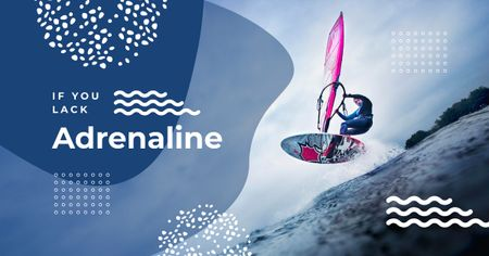 Plantilla de diseño de Man riding windsurfing board Facebook AD