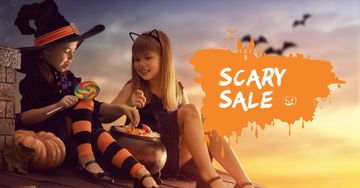 Halloween Sale with Children in Costumes