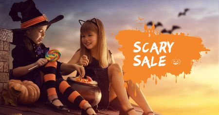 Plantilla de diseño de Halloween Sale with Children in Costumes Facebook AD