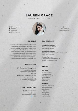 Modèle de visuel Accounting Assistant skills and experience - Resume