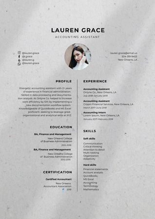 Accounting Assistant skills and experience Resume Modelo de Design