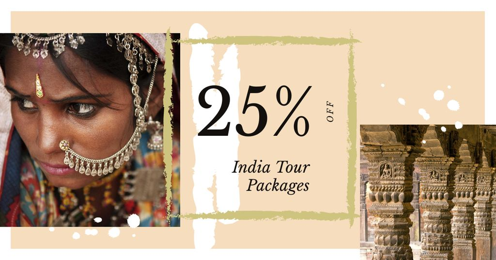 Indian girl in traditional costume Facebook AD Design Template