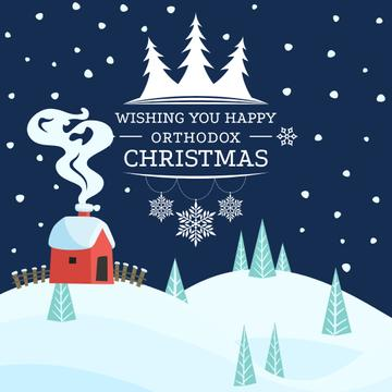 Orthodox Christmas Greeting with Winter Forest