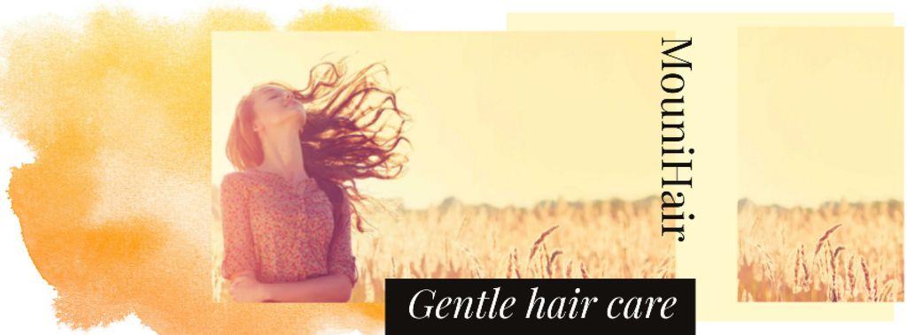 Plantilla de diseño de Hair Care Offer with Young Girl in field Facebook cover