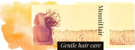 Hair Care Offer with Young Girl in field Facebook cover Modelo de Design