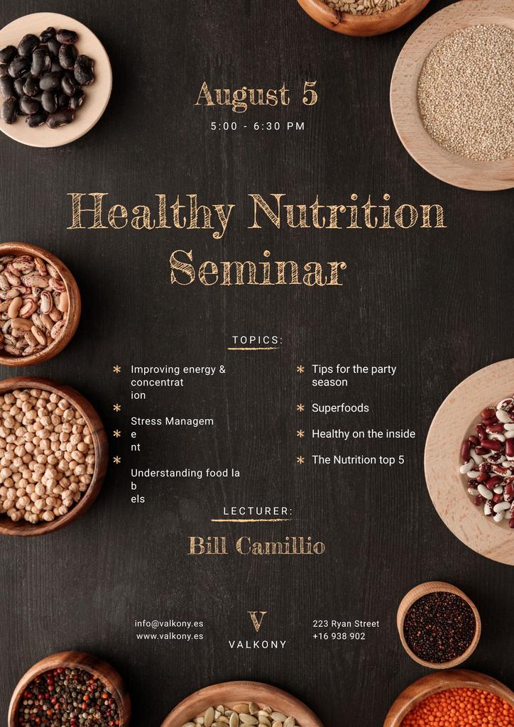 Seminar Annoucement with Healthy Nutrition Dishes on table — ein Design erstellen